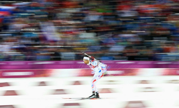 Martin Fourcade of France in action during the Men's 12.5 km Pursuit during day three of the Sochi 2014 Winter Olympics at Laura Cross-country Ski & Biathlon Center on February 10, 2014 in Sochi, Russia. (Richard Heathcote/Getty Images)