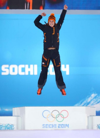 Gold medalist Irene Wust of the Netherlands celebrates during the medal ceremony for the Ladies' 3000m speed skating on day 3 of the Sochi 2014 Winter Olympics at Medals Plaza in the Olympic Park on February 10, 2014 in Sochi, Russia. (Streeter Lecka/Getty Images)
