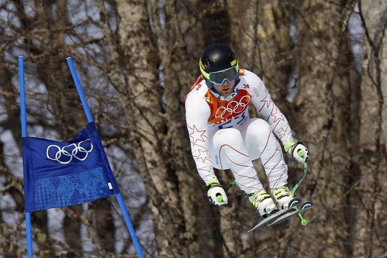 Andrew Weibrecht of the USA wins the silver medal during the Alpine Skiing Men's Super-G at the Sochi 2014 Winter Olympic Games at Rosa Khutor Alpine Centre on February 16, 2014 in Sochi, Russia. (Alexis Boichard/Agence Zoom/Getty Images)
