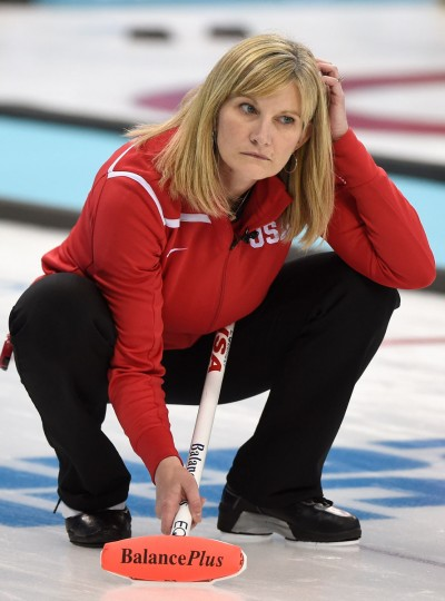 Erika Brown of USA reacts during a women's curling round robin match between USA and Canada on day nine of the Sochi 2014 Winter Olympics at Ice Cube Curling Center on February 16, 2014 in Sochi. (Lars Baron/Getty Images)