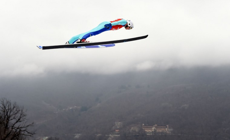 Samuel Costa of Italy jumps during the Nordic Combined Individual Large Hill official training on day 10 of the Sochi 2014 Winter Olympics at RusSki Gorki Jumping Center on February 17, 2014 in Sochi, Russia. (Lars Baron/Getty Images)