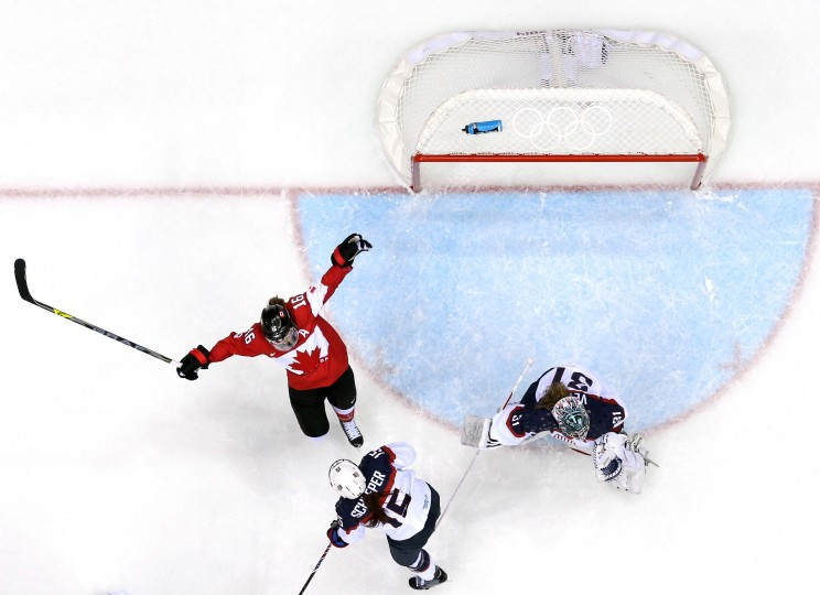 Anne Schleper #15 of the United States shoves Jayna Hefford #16 of Canada during the Ice Hockey Women's Gold Medal Game on day 13 of the Sochi 2014 Winter Olympics at Bolshoy Ice Dome on February 20, 2014 in Sochi, Russia. (Photo by Martin Rose/Getty Images)