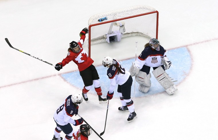 Anne Schleper #15 of the United States shoves Jayna Hefford #16 of Canada during the Ice Hockey Women's Gold Medal Game on day 13 of the Sochi 2014 Winter Olympics at Bolshoy Ice Dome on February 20, 2014 in Sochi, Russia. (Photo by Bruce Bennett/Getty Images)
