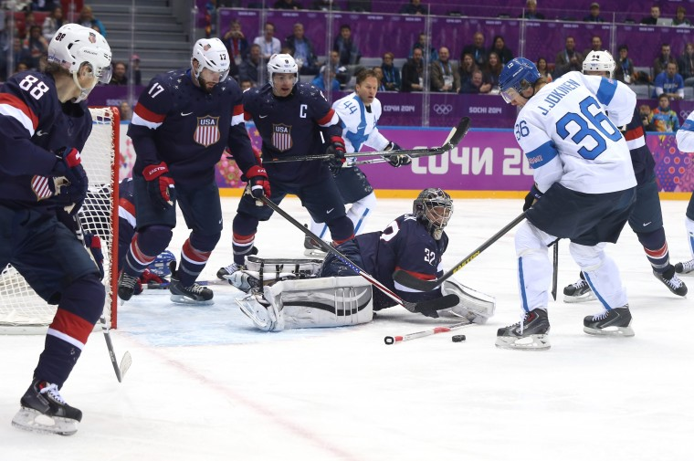 Jussi Jokinen #36 of Finland tries to shoot against Jonathan Quick #32 of the United States in the first period during the Men's Ice Hockey Bronze Medal Game on Day 15 of the 2014 Sochi Winter Olympics at Bolshoy Ice Dome on February 22, 2014 in Sochi, Russia. (Photo by Bruce Bennett/Getty Images)