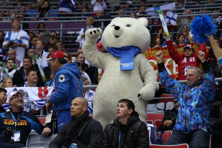 The Polar Bear mascot cheers in the crowd during the Men's Ice Hockey Bronze Medal Game between Finland and the United States on Day 15 of the 2014 Sochi Winter Olympics at Bolshoy Ice Dome on February 22, 2014 in Sochi, Russia. (Photo by Bruce Bennett/Getty Images)