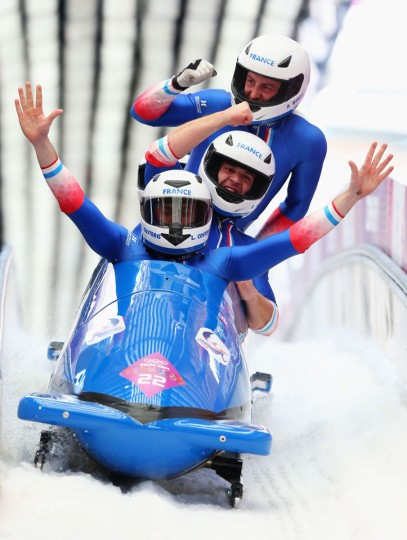 Pilot Simone Bertazzo, Simone Fontana, Samuele Romanini and Francesco Costa of Italy team 1 react after a run during the men's 4-man bobsleigh. (Photo by Alex Livesey/Getty Images)