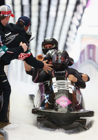Pilot Steven Holcomb, Curtis Tomasevicz, Steven Langton and Christopher Fogt of the United States team 1 finish a run during the men's 4-man bobsleigh. (Photo by Alex Livesey/Getty Images)