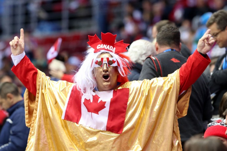 A Canada fan enjoys the pre-match atmosphere prior to the men's ice hockey gold medal match. (Photo by Bruce Bennett/Getty Images)