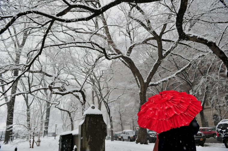 A woman stands on Fifth Avenue at an entrance to Central Park February 3, 2014 on the east side of Manhattan as a snowstorm hits New York. (Stan Honda/AFP/Getty Images)