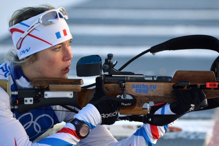 Biathlete France's Marine Bolliet trains at the Laura Cross Country Skiing and Biathlon Centre in Rosa Khutor, near Sochi. (ALBERTO PIZZOLI/AFP/Getty Images)