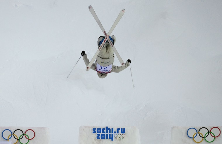 Australia's Nicole Parks competes in the Women's Freestyle Skiing Moguls qualifications at the Rosa Khutor Extreme Park during the Sochi Winter Olympics. (JAVIER SORIANO/AFP/Getty Images)