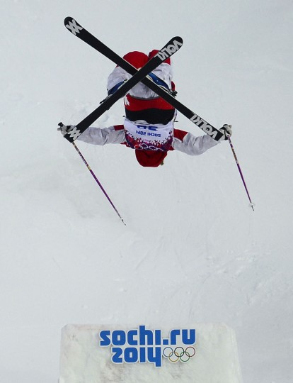 Canada's Audrey Robichaud competes in the Women's Freestyle Skiing Moguls qualifications at the Rosa Khutor Extreme Park during the Sochi Winter Olympics. (JAVIER SORIANO/AFP/Getty Images)