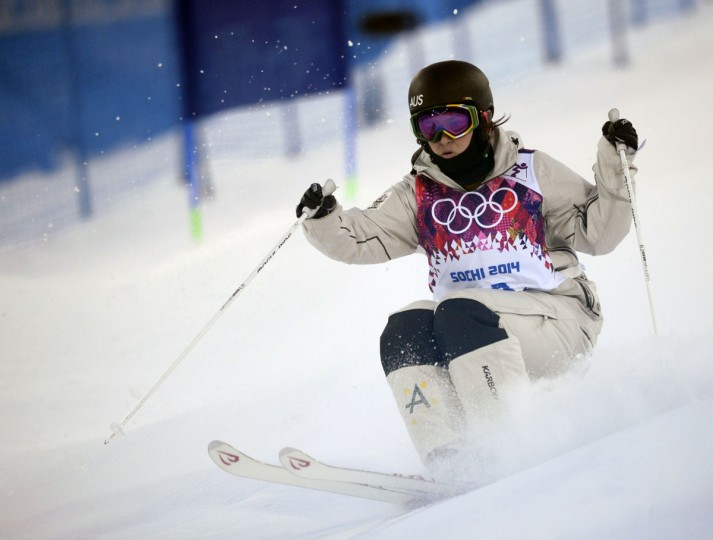Australia's Nicole Parks competes in the Women's Freestyle Skiing Moguls qualifications at the Rosa Khutor Extreme Park during the Sochi Winter Olympics. (FRANCK FIFE/AFP/Getty Images)