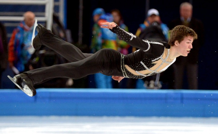 Ukraine's Yakov Godorozha performs during the Men's Figure Skating Team Short Program at the Iceberg Skating Palace during the Sochi Winter Olympics. (DAMIEN MEYER/AFP/Getty Images)