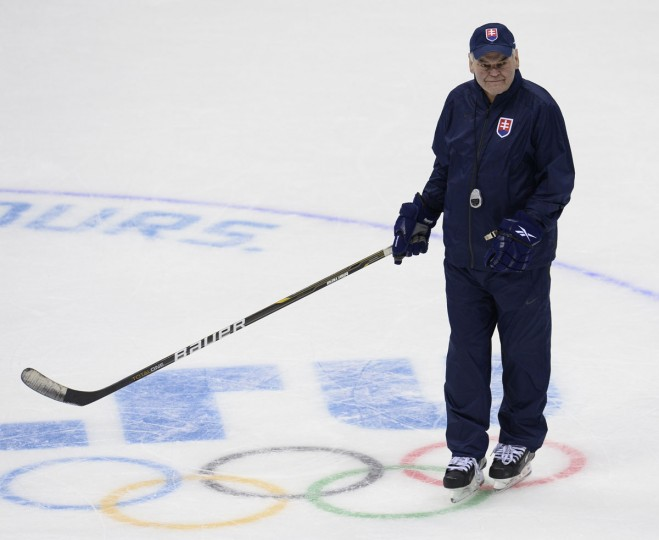 Slovakia's head coach Vladimi­r Vujtek attends an ice hockey training session at the Bolshoy arena in Sochi. (JONATHAN NACKSTRAND/AFP/Getty Images)