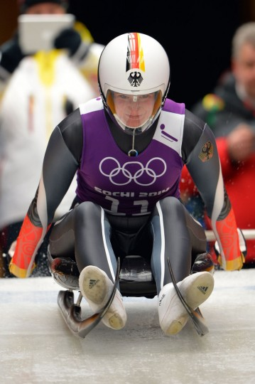 Germany's Natalie Geisenberger takes the start of the second run of a women's luge training session at the Sanki Sliding Centre in Rosa Khutor. (LEON NEAL/AFP/Getty Images)