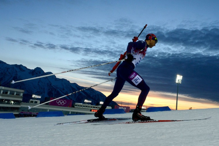 Norway's Ole Einar Bjoerndalen competes in the Men's Biathlon 10 km Sprint at the Laura Cross-Country Ski and Biathlon Center during the Sochi Winter Olympics on February 8, 2014 in Rosa Khutor. (Krill Kudryavtsev/AFP/Getty Images)