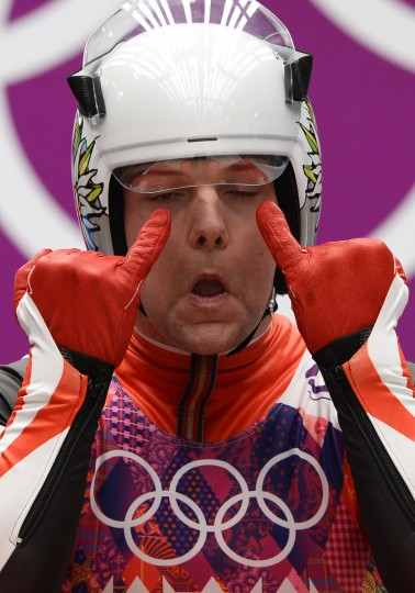 Austria's Daniel Pfister prepares to compete during the Men's Luge Singles run two at the Sliding Center Sanki during the Sochi Winter Olympics on February 8, 2014. (Lionel Bonaventure/AFP/Getty Images)