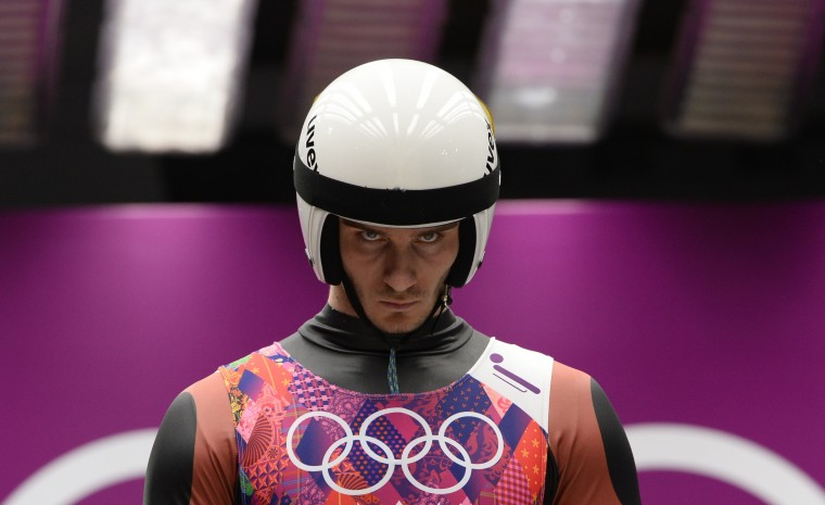 Latvia's Kristaps Maurins prepares to compete during the Men's Luge Singles run two at the Sliding Center Sanki