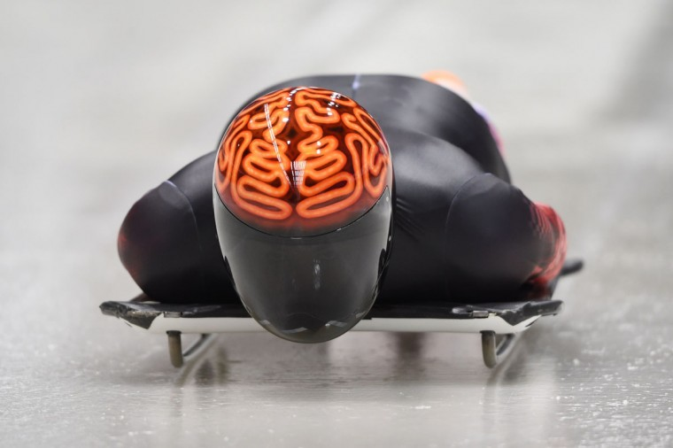 Canada's John Fairbairn takes part in a skeleton training session at the Sanki Sliding Center in Rosa Khutor on February 9, 2014 during the Sochi Winter Olympics. (Leon Neal/AFP/Getty Images)