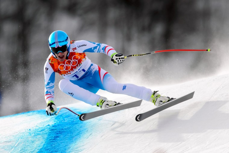Austria's Matthias Mayer competes during the men's alpine skiing downhill at the Rosa Khutor Alpine Center during the Sochi Winter Olympics on February 9, 2014. (Fabrice Coffrini/AFP/Getty Images)