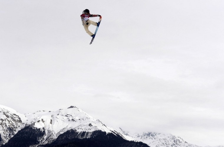 Jamie Anderson of the U.S. competes in the women's snowboard slopestyle final during the Sochi Winter Olympics on February 9, 2014. Anderson won the gold medal. (Franck Fife/AFP/Getty Images)