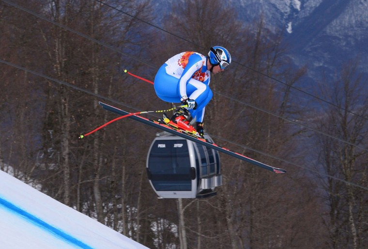 Italy's Werner Heel competes during the men's alpine skiing downhill at the Rosa Khutor Alpine Center during the Sochi Winter Olympics on February 9, 2014. (Dimitar Dilkoff/AFP/Getty Images)