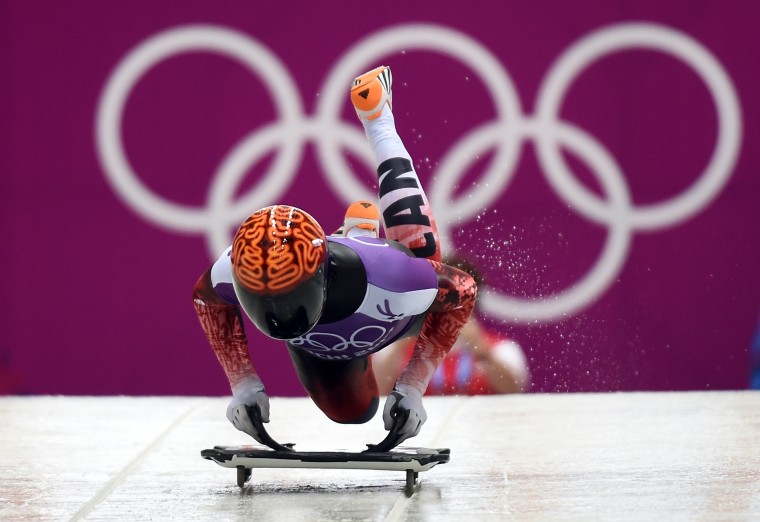 Canada's John Fairbairn takes part in a men's skeleton official training session at the Sanki Sliding Center during the 2014 Sochi Winter Olympics on February 10, 2014. (Leon Neal/AFP/Getty Images)