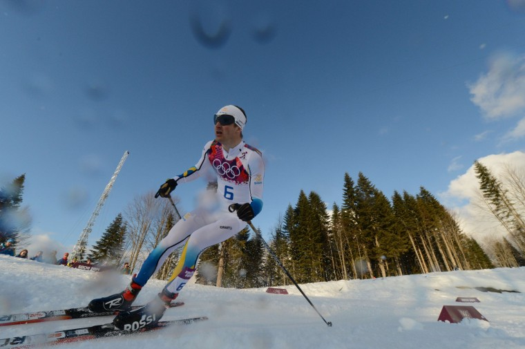 Silver medalist Sweden's Teodor Peterson competes in the Men's Cross-Country Skiing Individual Sprint Free Final at the Laura Cross-Country Ski and Biathlon Center during the Sochi Winter Olympics on February 11, 2014 in Rosa Khutor near Sochi . (Kirill Kudryavtse/AFP/Getty Images)