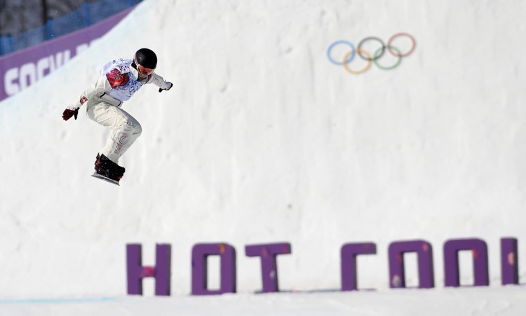 Switzerland's Simona Meiler competes in the women's snowboard cross quarterfinals at the Rosa Khutor Extreme Park during the Sochi Winter Olympics on February 16, 2014. (Franck Fife/AFP/Getty Images)