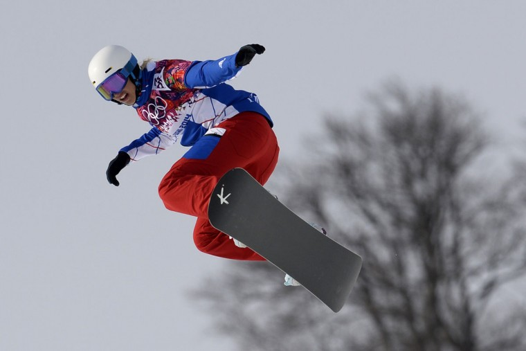 France's Chloe Trespeuch competes in the women's snowboard cross seeding runs at the Rosa Khutor Extreme Park during the Sochi Winter Olympics on February 16, 2014. (Franck Fife/AFP/Getty Images)