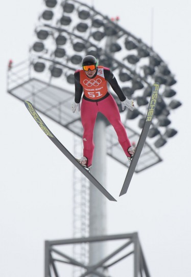 Germany's Johannes Rydzek participates in a training session for the normal hill ski jump portion of the Nordic combined race at the RusSki Gorki Jumping Center during the Sochi Winter Olympics on February 17, 2014, in Rosa Khutor, near Sochi. (Peter Parks/AFP/Getty Images)
