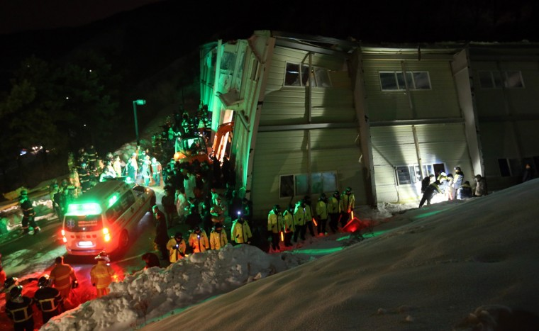 A general view shows the scene of a collapsed building at the Mauna Resort in Gyeongju, in South Korea's south eastern Gyeongsang Province, on February 17, 2014. Media reports said several hundred students were attending a freshman orientation event at the resort. (Yonhap/AFP/Getty Images)