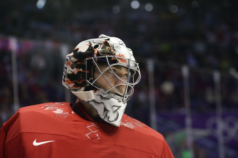 Canada's goalkeeper Carey Price looks on during the Men's Ice Hockey Semifinal match between the USA and Canada at the Bolshoy Ice Dome during the Sochi Winter Olympics on February 21, 2014. (Jonathan Nackstrand/AFP/Getty Images)