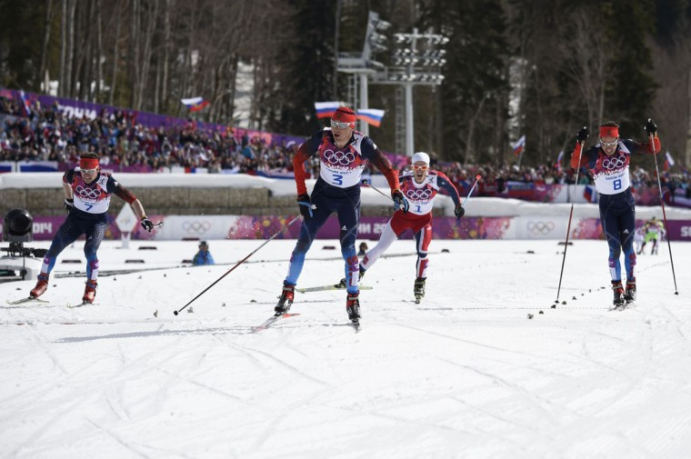 Russia's Alexander Legkov (3) crosses the finish line to win gold in the Men's Cross-Country Skiing 50km Mass Start Free. (ODD ANDERSEN/AFP/Getty Images)