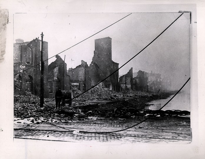 Duggans Wharf on Pratt Street presented this picture of devastation after the flames had roared through on their sweep eastward toward Jones Falls. Photographer unknown.