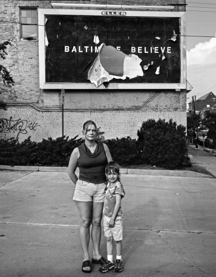 """Baltimore, MD - 2002 -- When the """"Baltimore Believe"""" anti-drug billboards sprang up around town, I wondered what impact, if any, they would have. Rachael Brown, with her daughter, Jaide, like almost all my subjects, had an immediate family member whose life had been destroyed by drugs. Rachael said, """"...I teach my kids to love themselves. People who do drugs can't be happy inside. If you loved yourself you wouldn't do that to yourself."""" The process of using a view camera on a tripod gave my subjects time to reflect, and open up to me about heartbreaking situations. (Amy Davis / Baltimore Sun)"""