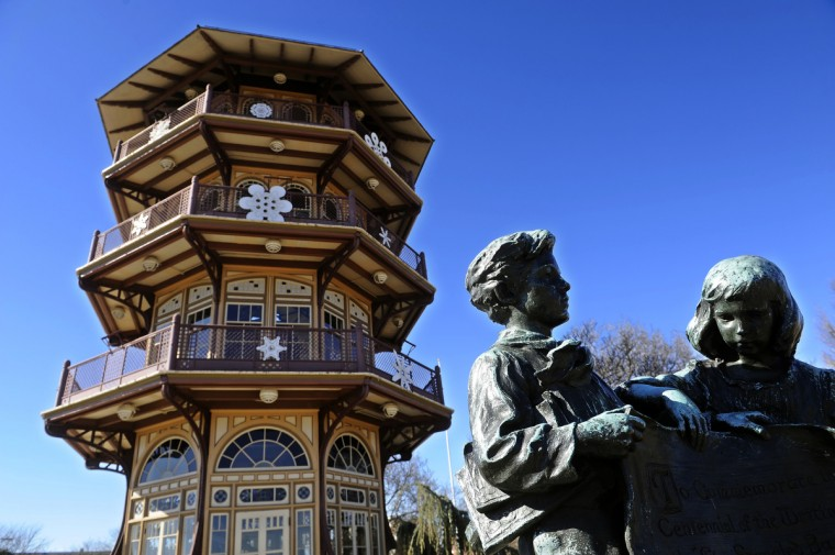 The statue on the right, next to the Patterson Park Pagoda, was dedicated by Baltimore school children in 1914. It commemorates Baltimore's role in the War of 1812. (Barbara Haddock Taylor/Baltimore Sun)
