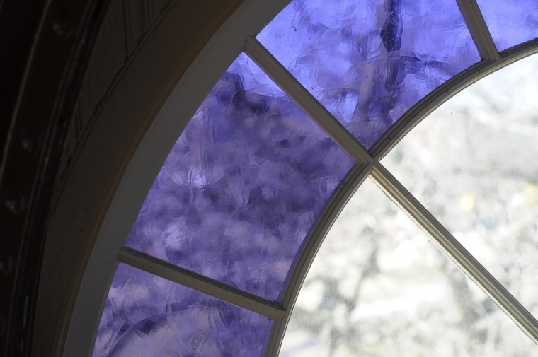 Light shines through a stained-glass window in the Patterson Park Pagoda. (Barbara Haddock Taylor/Baltimore Sun)