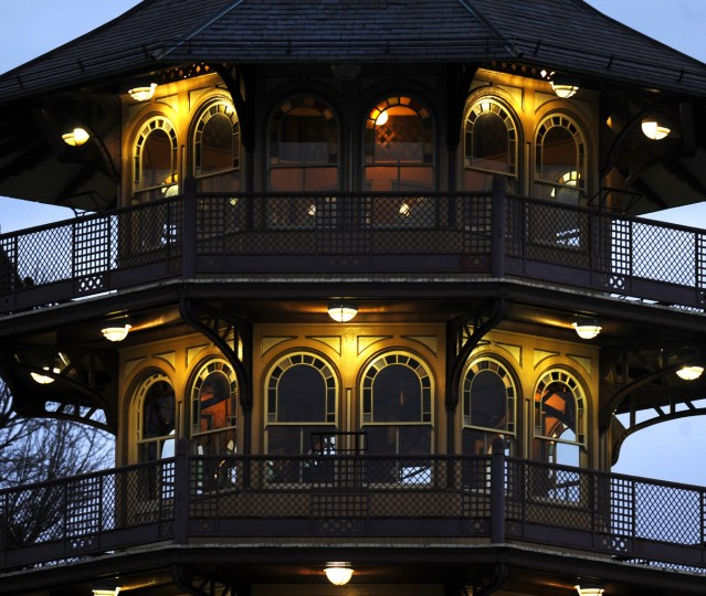 An exterior view of the Patterson Park Pagoda as the sun starts to rise over Southeast Baltimore. (Barbara Haddock Taylor/Baltimore Sun)