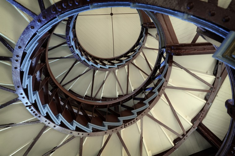 This is a view of the interior staircase of the Patterson Park Pagoda. (Barbara Haddock Taylor/Baltimore Sun)