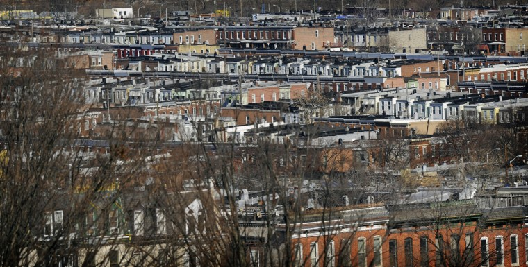 This is a view of Southeast Baltimore rowhomes, as seen from an upper level of the Patterson Park Pagoda. (Barbara Haddock Taylor/Baltimore Sun)