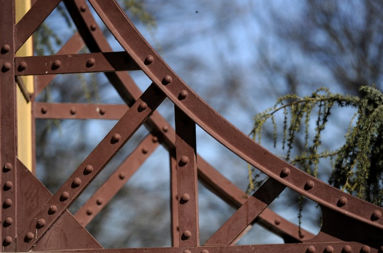 This is a detail of an iron support bracket outside on the Patterson Park Pagoda. (Barbara Haddock Taylor/Baltimore Sun)