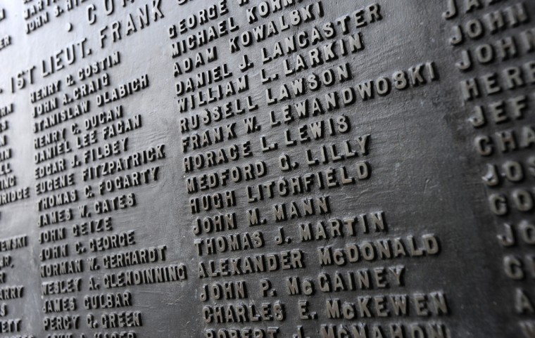 A relief of names of people that served in the Maryland National Guard. (Lloyd Fox/Baltimore Sun)