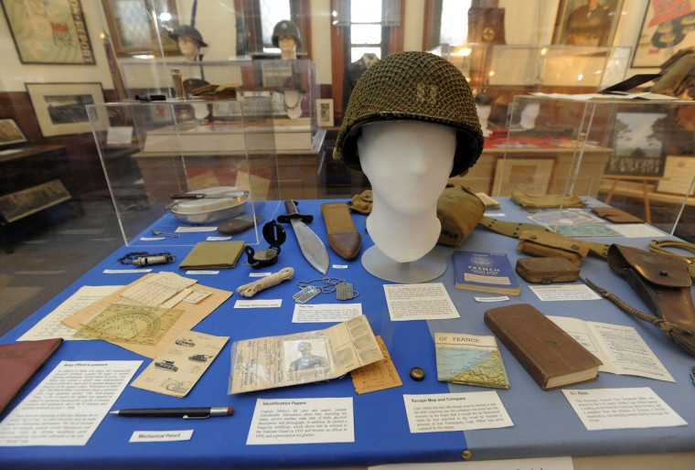 Items carried by Captain Robert M. Miller Commander of Company F, 175th Infantry, 29th Infantry Division from Omaha Beach to St. Lo during the Normandy campaign. (Lloyd Fox/Baltimore Sun)