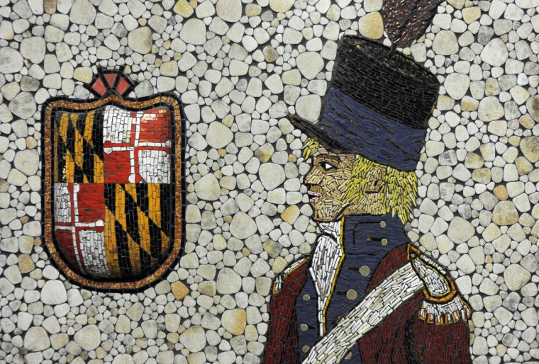 Artist Santo Navarria donated this mosaic he made of a drummer. (Lloyd Fox/Baltimore Sun)