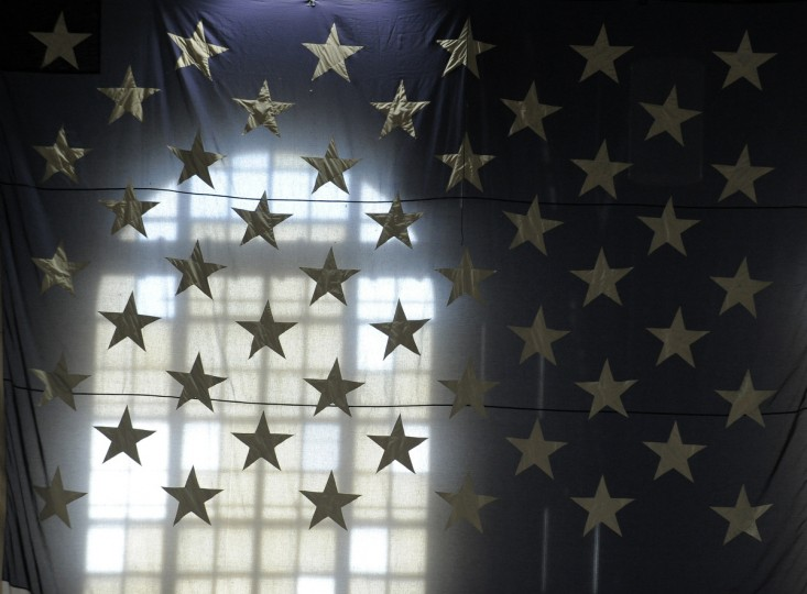 A detail of the large American flag that hangs in the drill hall. (Lloyd Fox/Baltimore Sun)