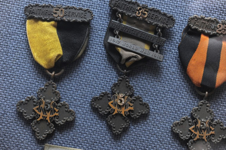 Maryland National Guard service ribbons from the early 1900's. (Lloyd Fox/Baltimore Sun)