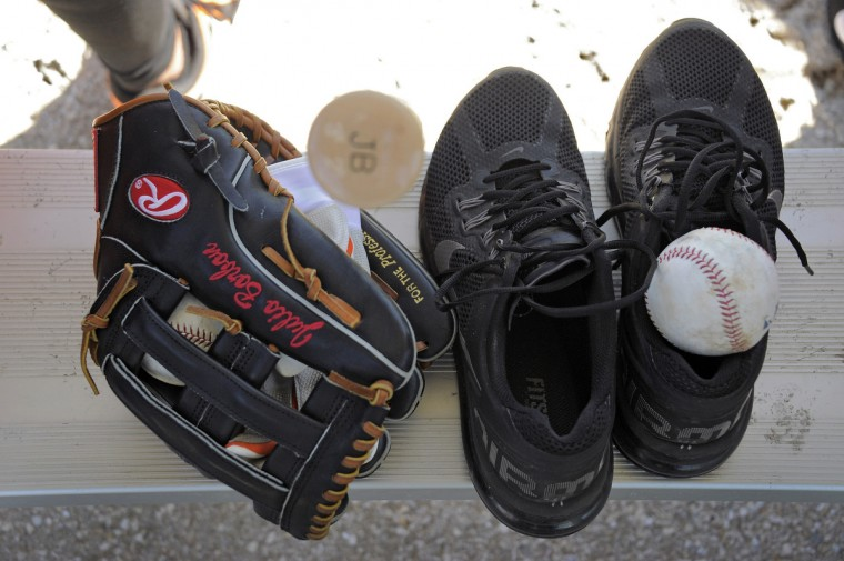 Equipment owned by Orioles outfielder Julio Borbon at the club's spring training facility. (Karl Merton Ferron/Baltimore Sun)