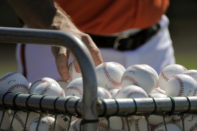 An Orioles coach picks up baseballs for fielding drills during the first official day of workouts with the full squad. (Karl Merton Ferron/Baltimore Sun)